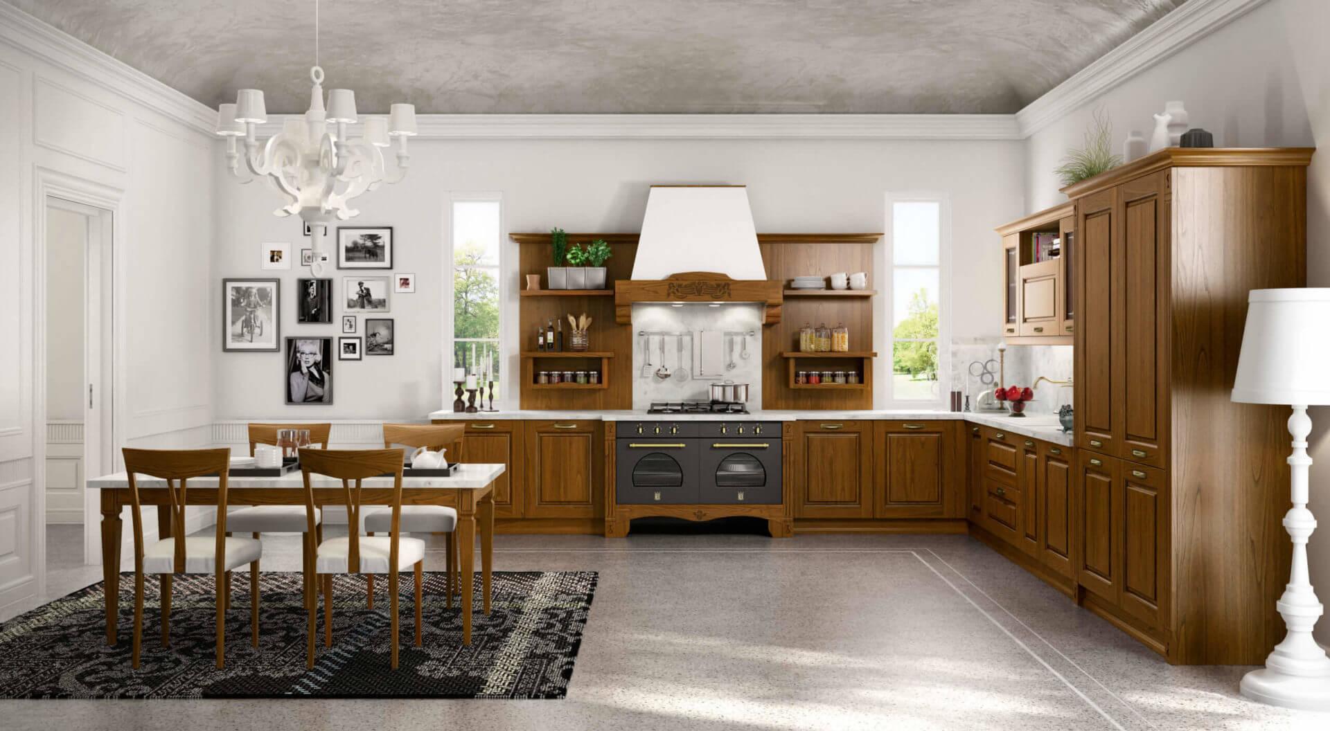 cucina classica legno noce padova