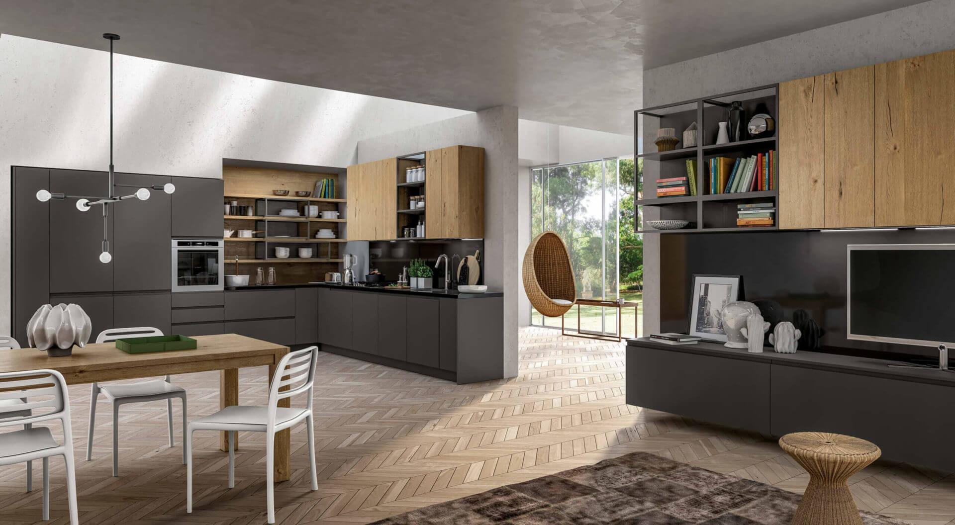 cucina moderna colori contrasto