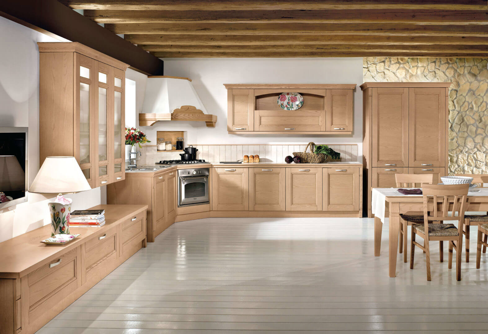 cucina rustica legno chiaro padova