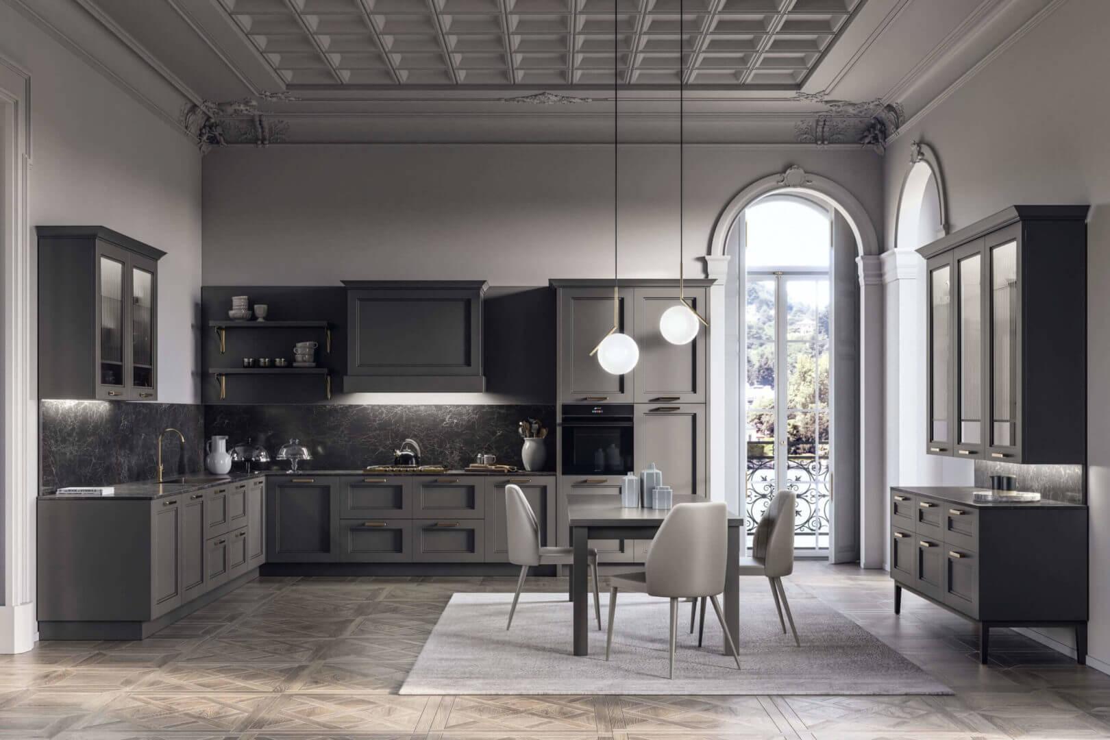 cucina con angolo legno grigio padova