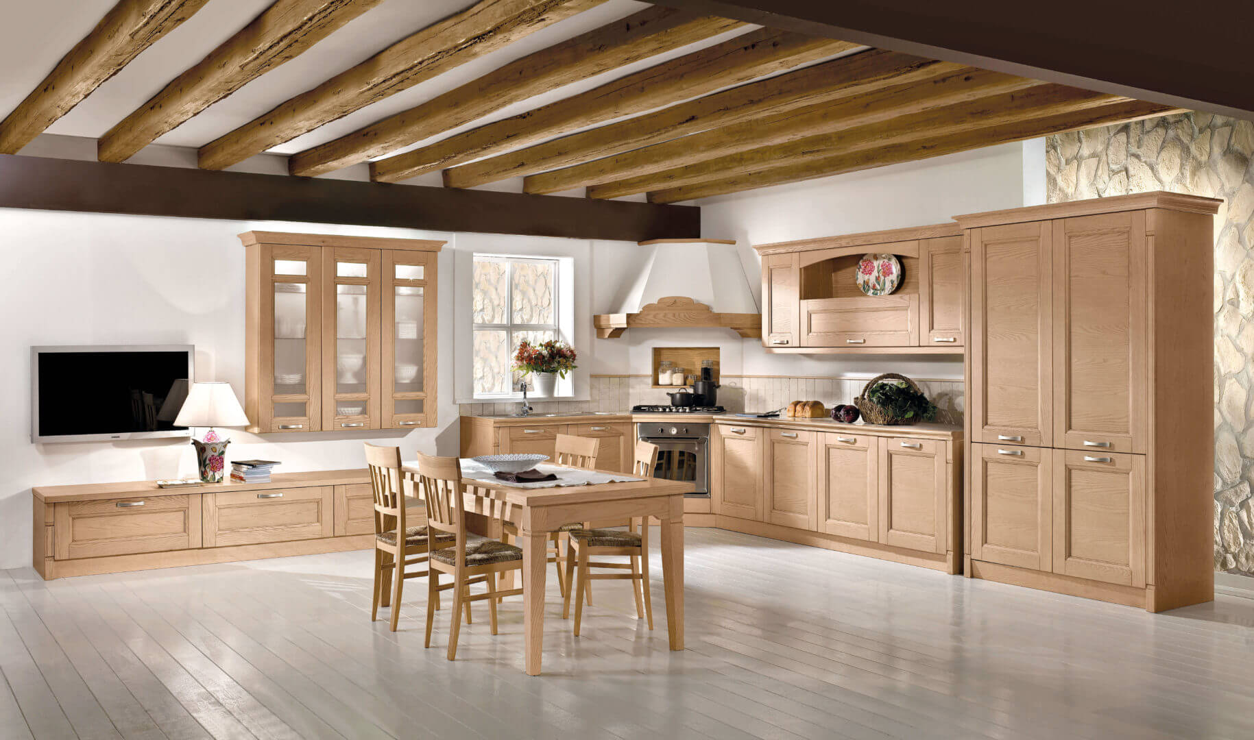 cucina angolare legno classico