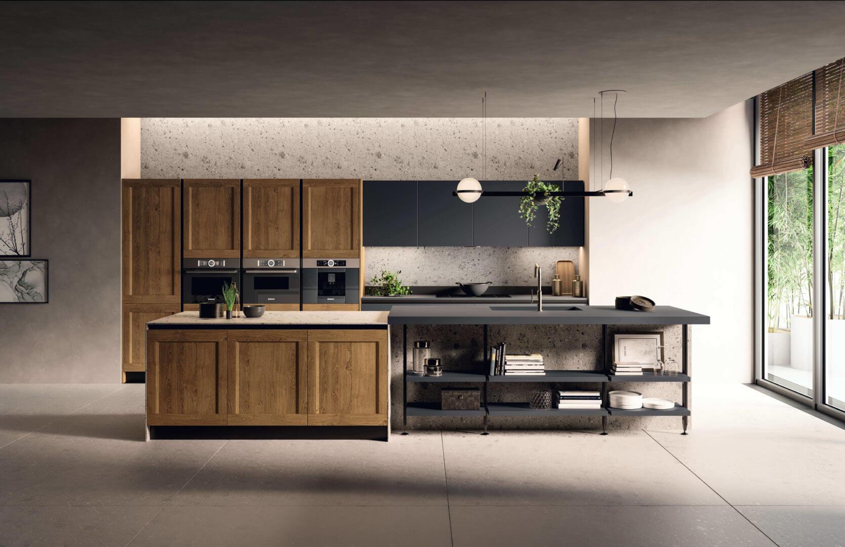 cucina legno e laminato nero padova