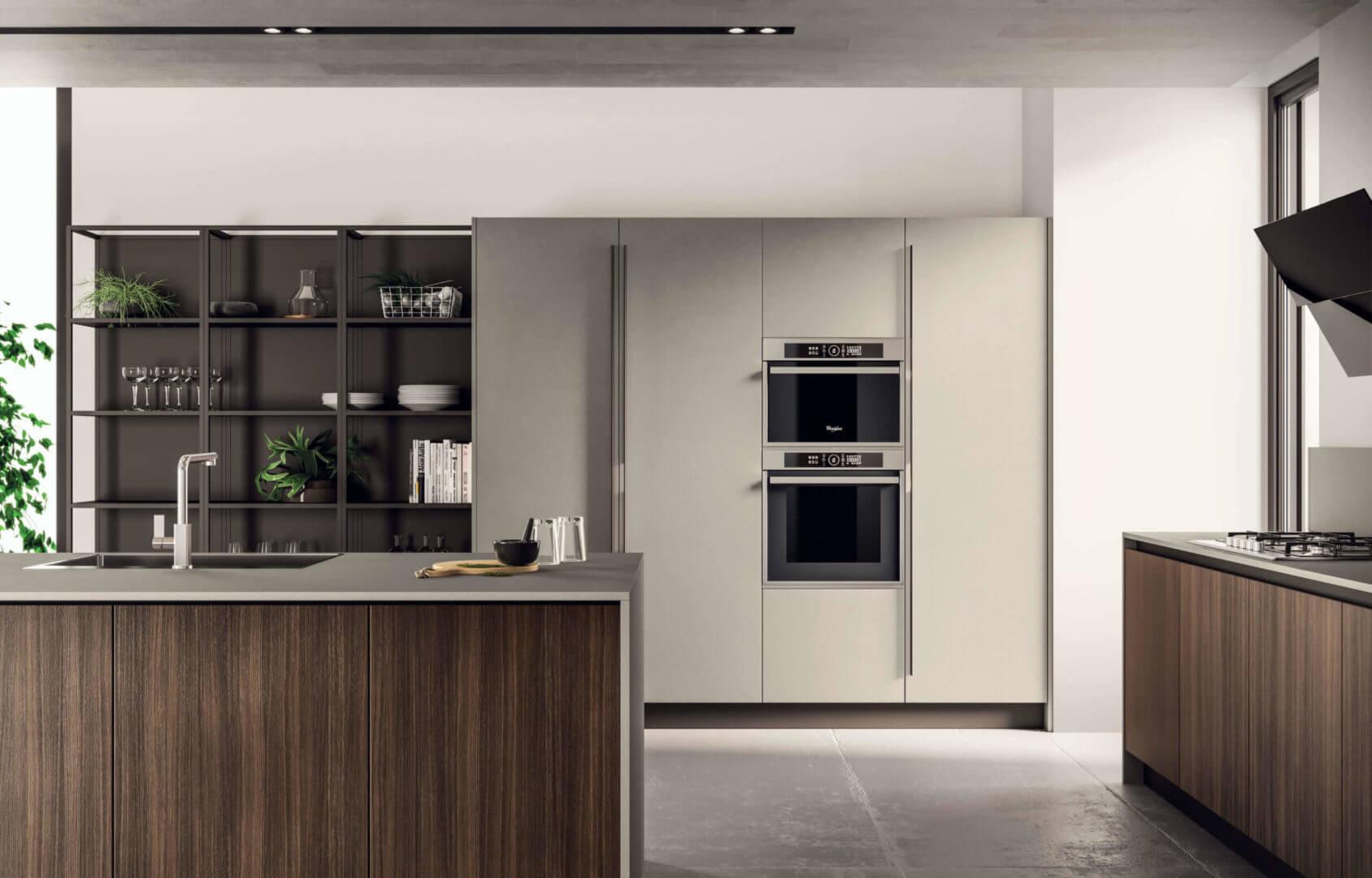 cucina moderna legno scuro padova