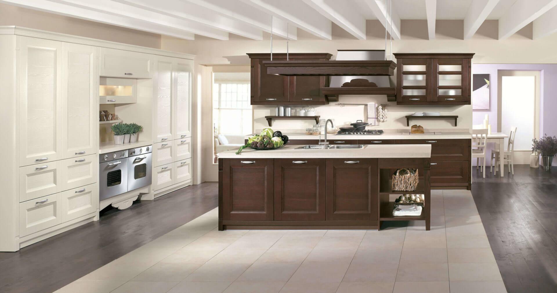 cucina isola legno a contrasto