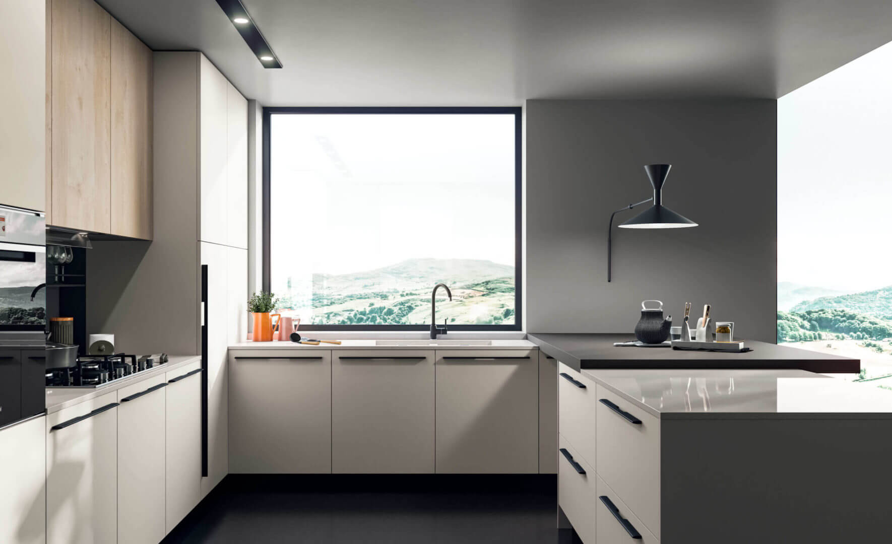 cucina isola moderna su misura