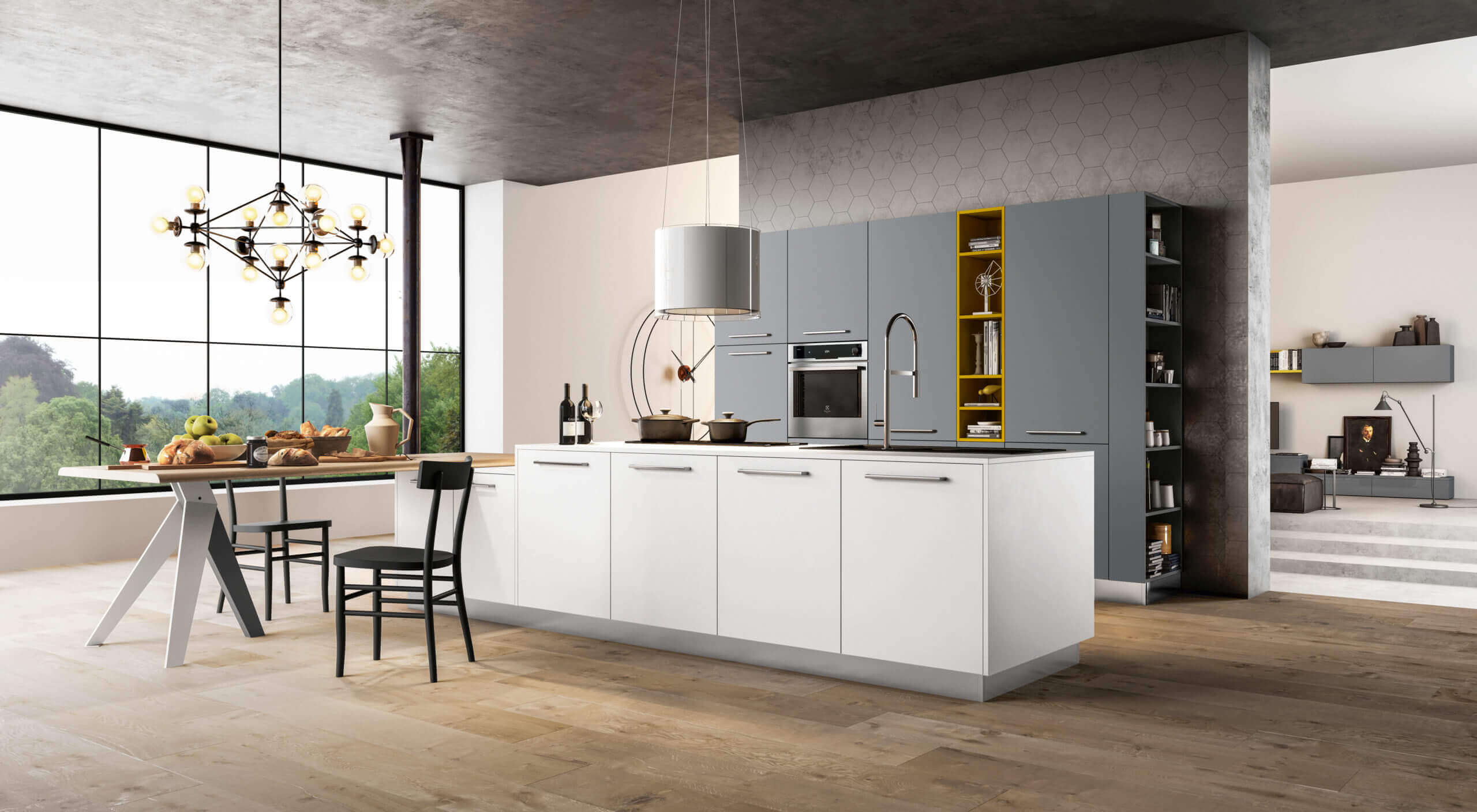 cucina di design colori contrasto carraro mobili