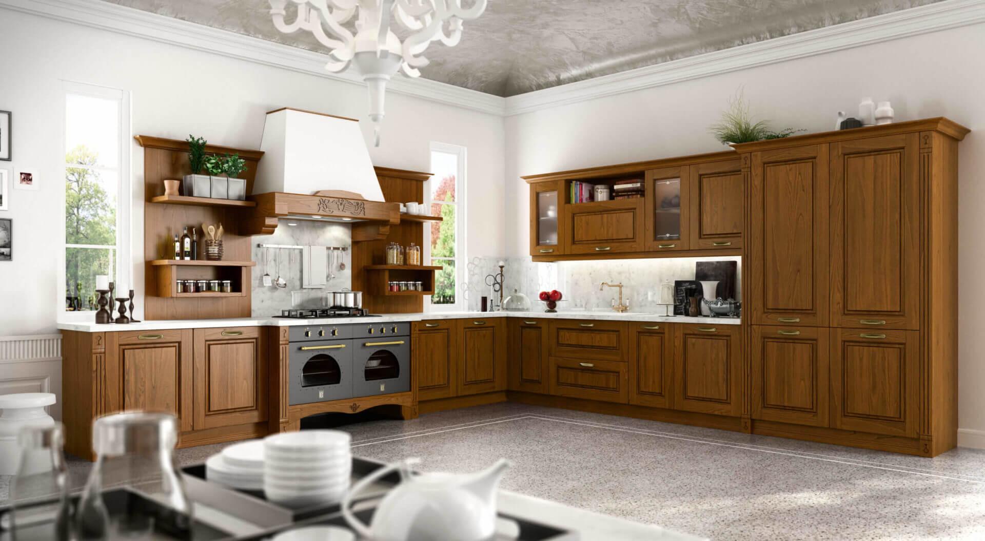cucina legno classico angolare padova