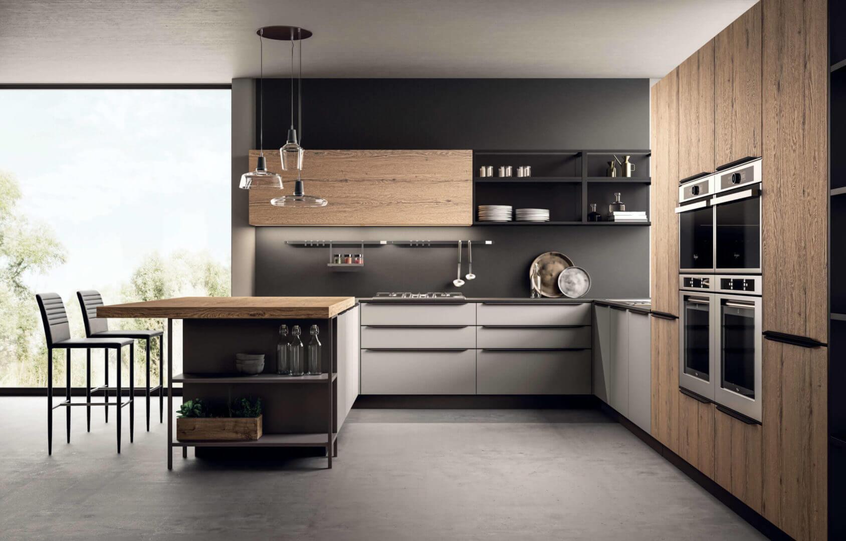 cucina moderna in legno e penisola padova