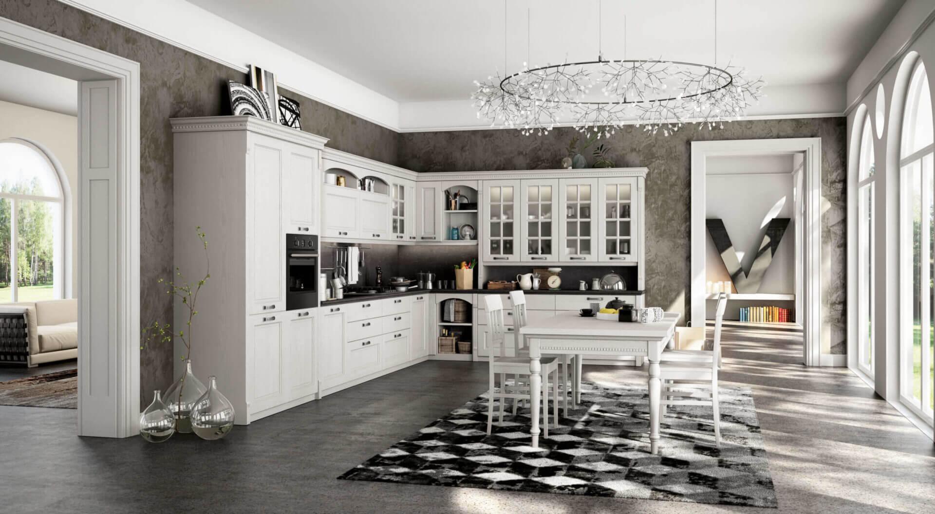cucina angolare legno bianco