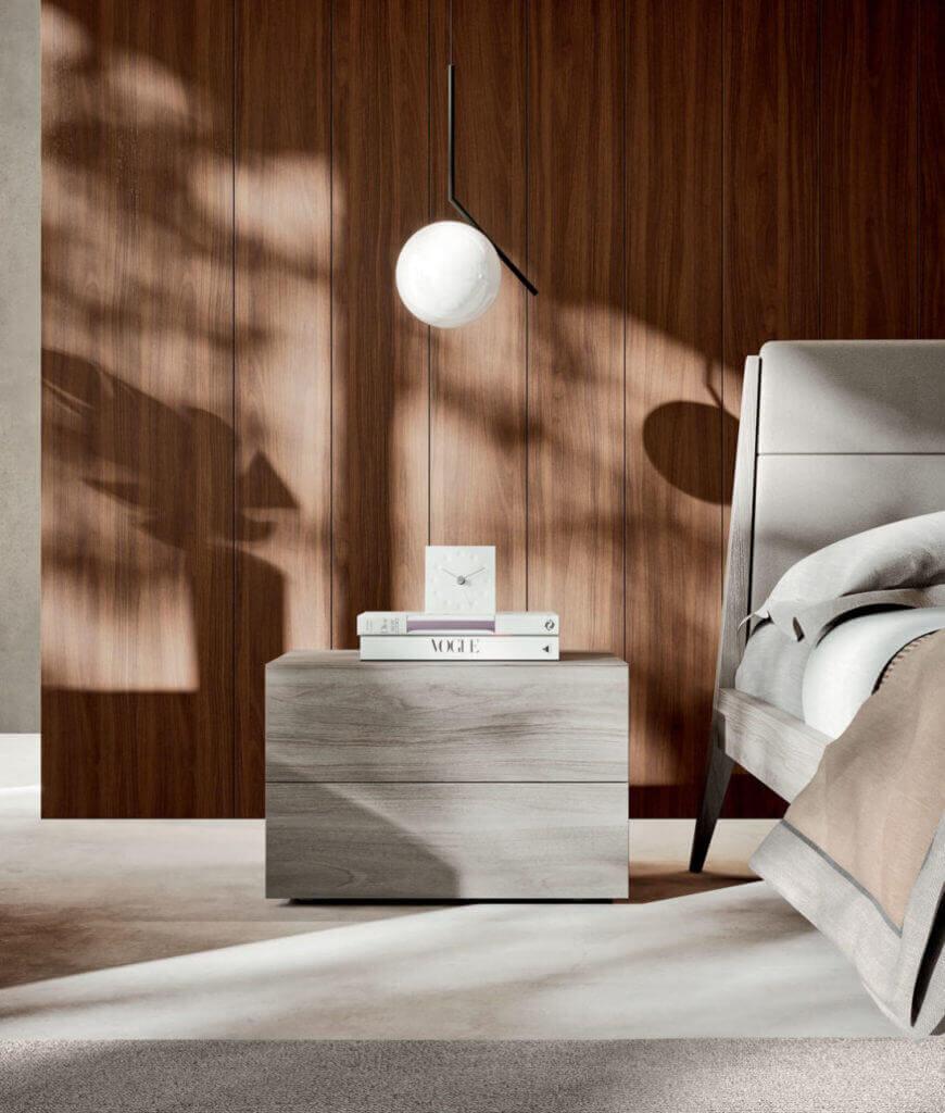 comodino legno grigio