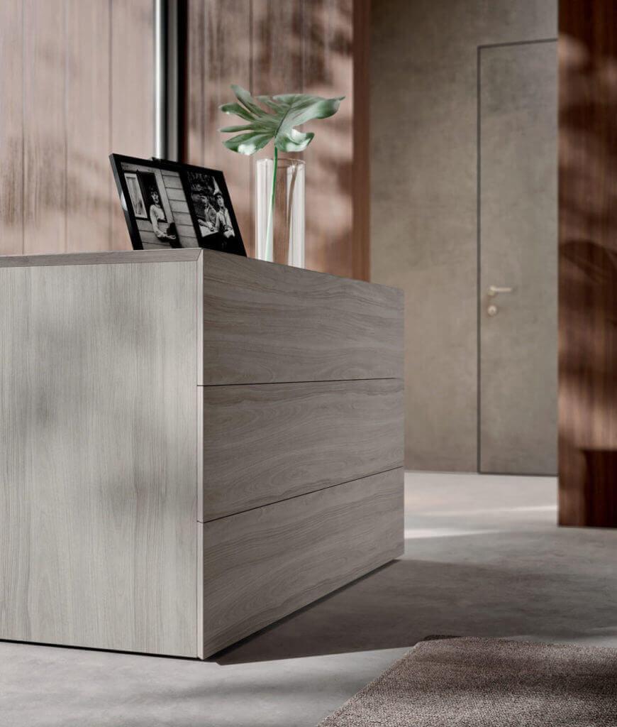 cassettiera legno grigio