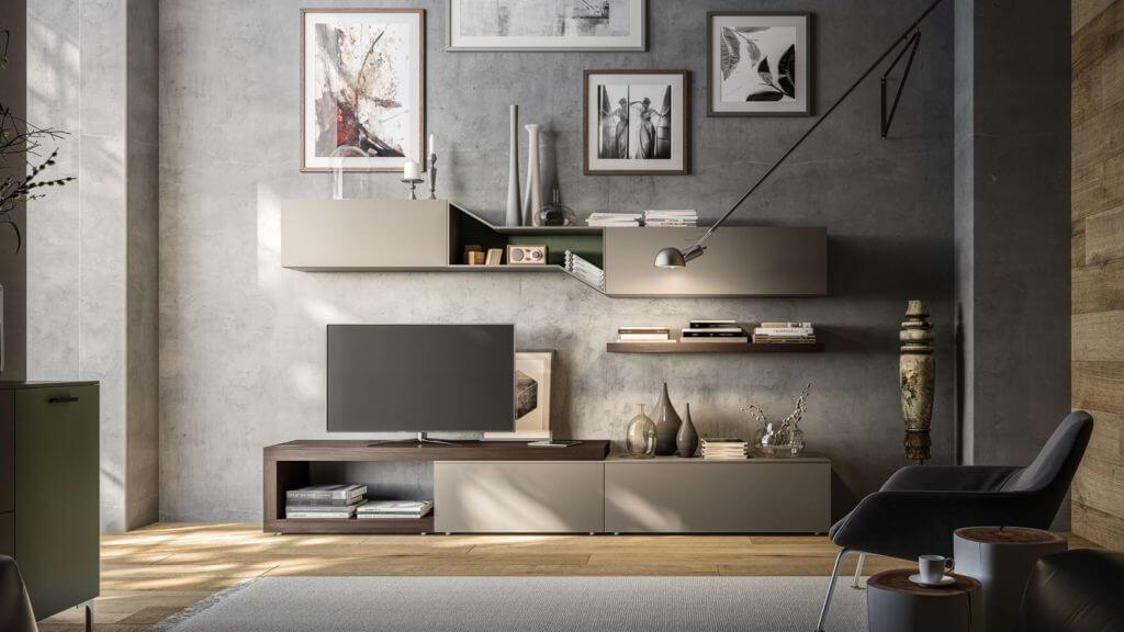 parete attrezzata grigio